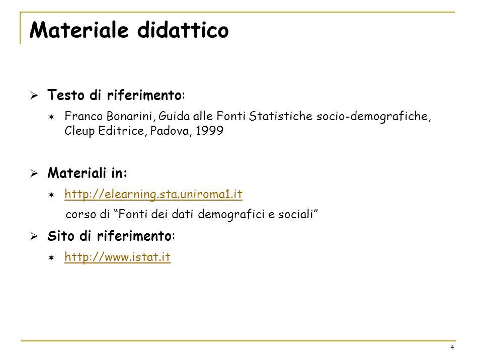 4 Materiale didattico Testo di riferimento: Franco Bonarini, Guida alle Fonti Statistiche socio-demografiche, Cleup Editrice, Padova, 1999 Materiali i