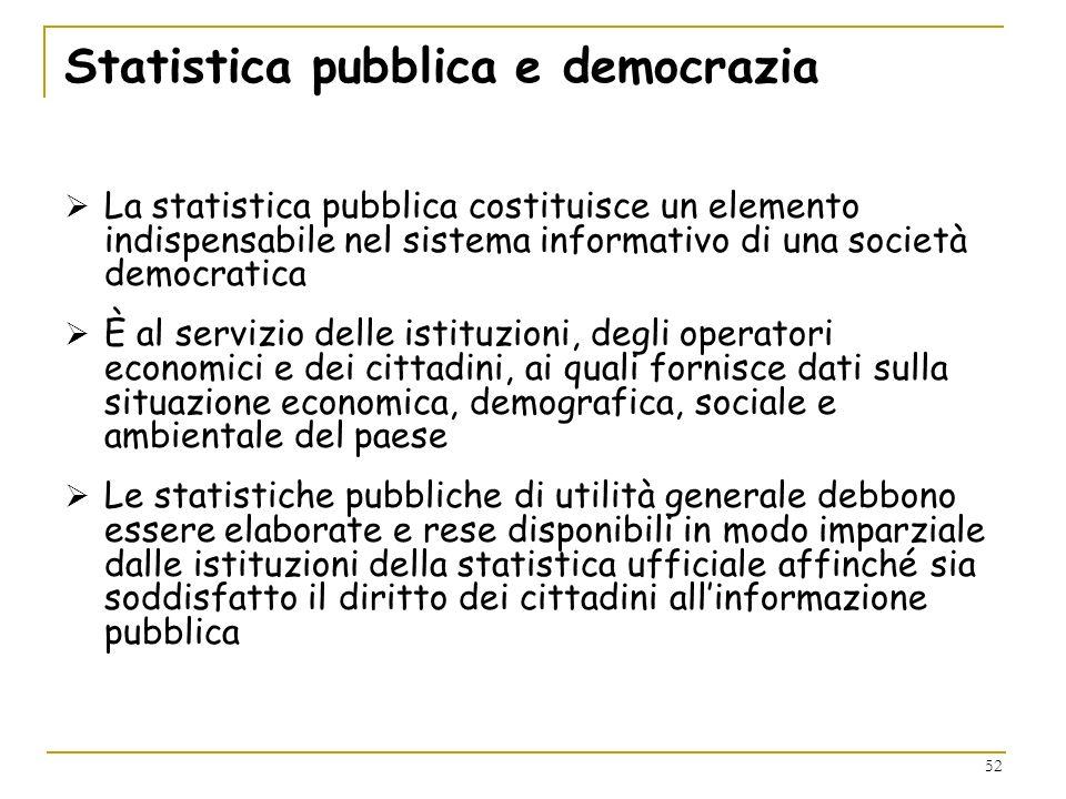 52 Statistica pubblica e democrazia La statistica pubblica costituisce un elemento indispensabile nel sistema informativo di una società democratica È