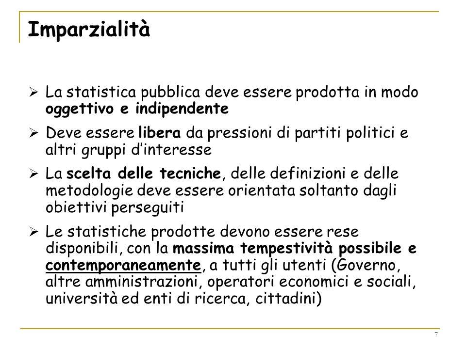 7 Imparzialità La statistica pubblica deve essere prodotta in modo oggettivo e indipendente Deve essere libera da pressioni di partiti politici e altr