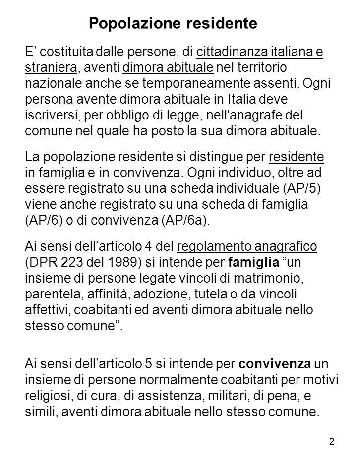 2 Popolazione residente E costituita dalle persone, di cittadinanza italiana e straniera, aventi dimora abituale nel territorio nazionale anche se tem