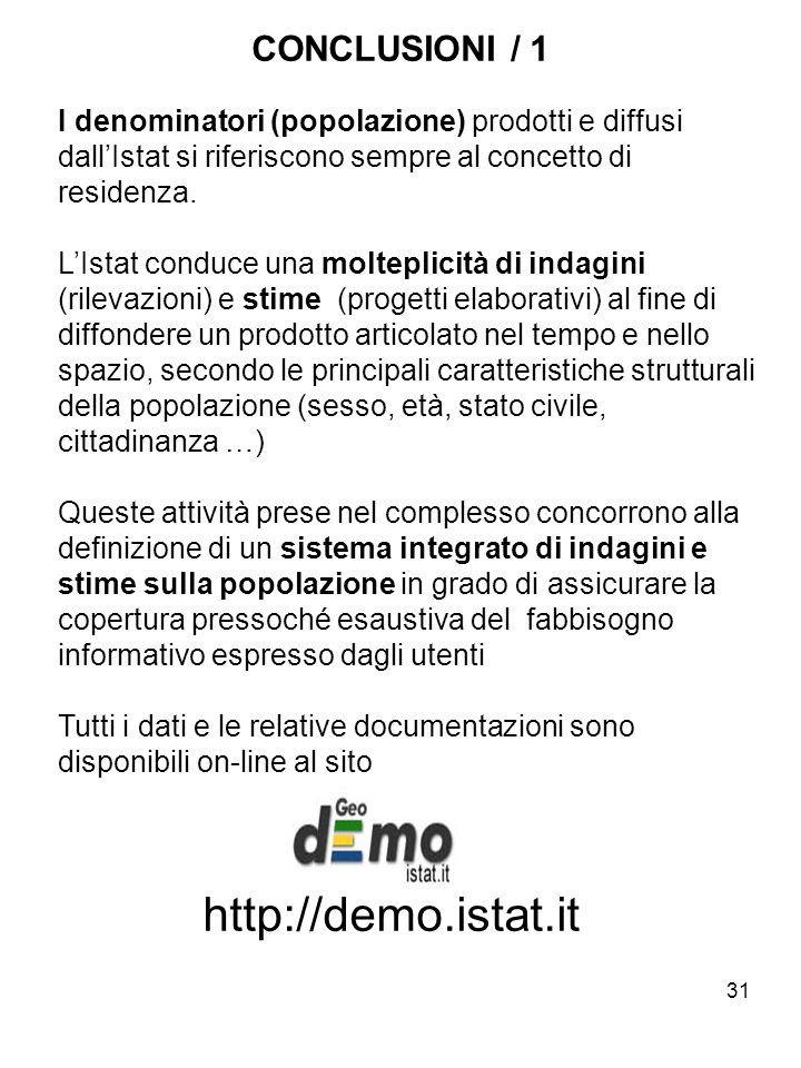 31 CONCLUSIONI / 1 I denominatori (popolazione) prodotti e diffusi dallIstat si riferiscono sempre al concetto di residenza. LIstat conduce una moltep