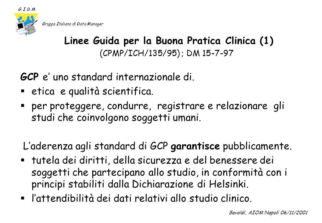 Linee Guida per la Buona Pratica Clinica (2) (CPMP/ICH/135/95) ; DM 15-7-97 GCP : obiettivo.