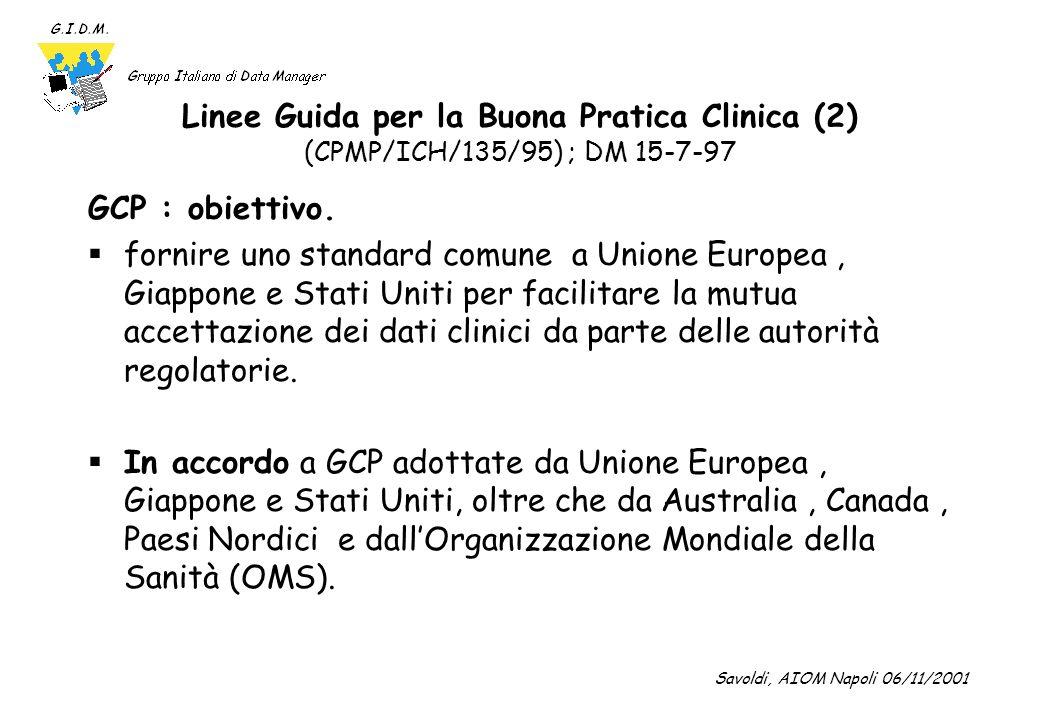 Linee Guida per la Buona Pratica Clinica (3) (CPMP/ICH/135/95) ; DM 15-7-97 Questa linea guida deve essere osservata ogniqualvolta si producano dati clinici da sottoporre alle autorità regolatorie.