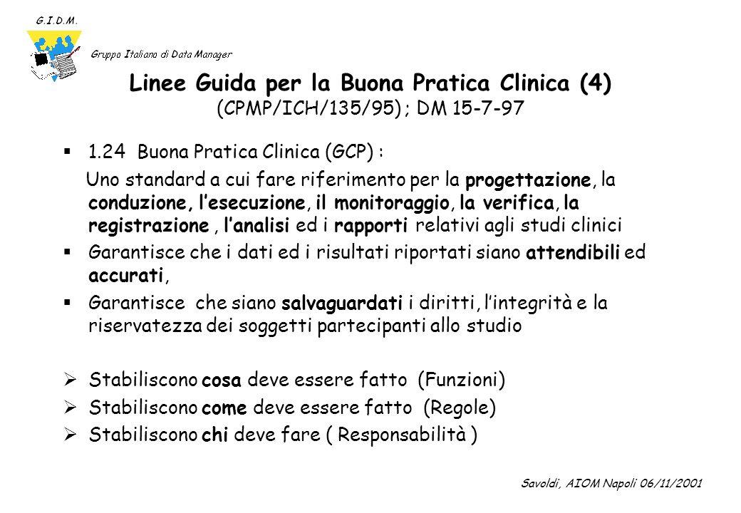 Linee Guida per la Buona Pratica Clinica (5) (CPMP/ICH/135/95) ; DM 15-7-97 Riferimenti allacquisizione e gestione dei dati nella sperimentazione clinica 4.9( Documentazione e Rapporti) 5.4( Personale qualificato) 5.5 (Gestione dello studio; Gestione dei dati e Conservazione della documentazione) Savoldi, AIOM Napoli 06/11/2001