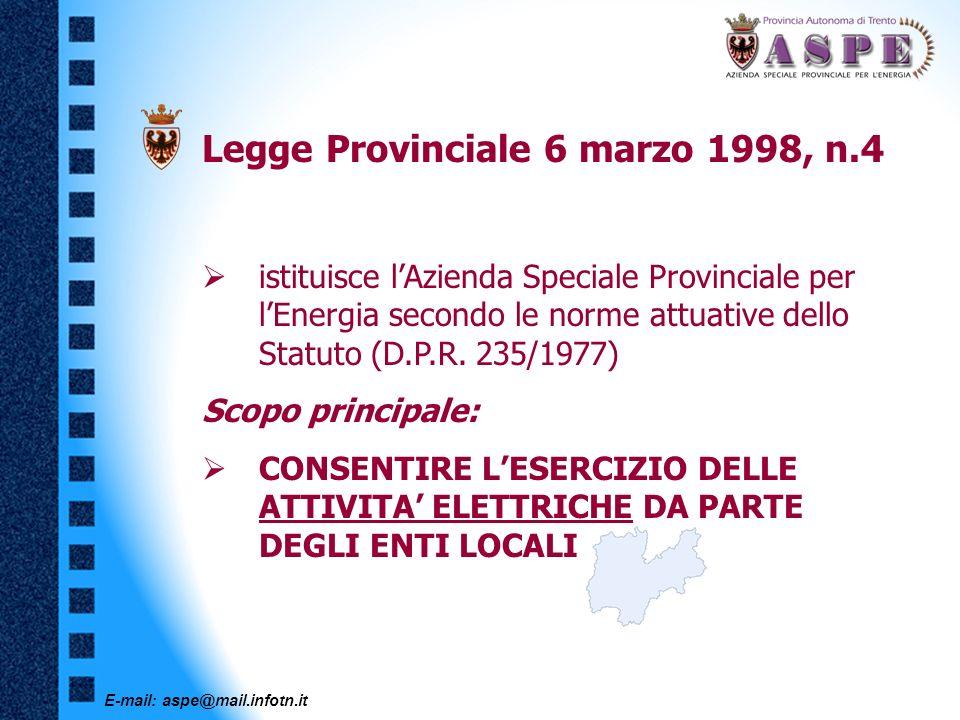 E-mail: aspe@mail.infotn.it Legge Provinciale 19 febbraio 2001, n.1 Ridefinisce i compiti aziendali Nuovo ruolo di tipo istituzionale, in sintesi: SUPPORTO TECNICO AMMINISTRATIVO PER LA PROVINCIA AUTONOMA DI TRENTO SUPPORTO, COORDINAMENTO E CONTROLLO PER I SOGGETTI ELETTRICI LOCALI
