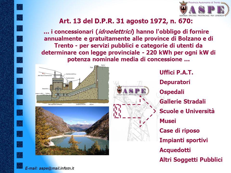 E-mail: aspe@mail.infotn.it Art. 13 del D.P.R. 31 agosto 1972, n. 670: … i concessionari (idroelettrici) hanno l'obbligo di fornire annualmente e grat
