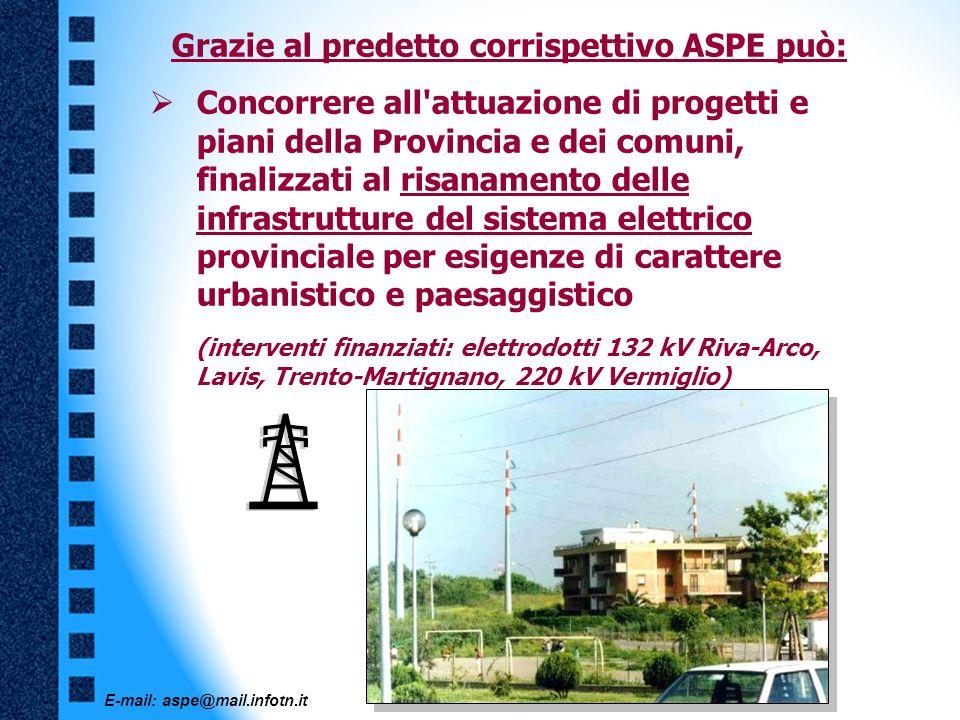 E-mail: aspe@mail.infotn.it Grazie al predetto corrispettivo ASPE può: Concorrere all'attuazione di progetti e piani della Provincia e dei comuni, fin