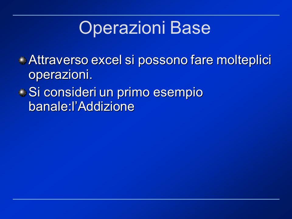 Operazioni Base Attraverso excel si possono fare molteplici operazioni. Si consideri un primo esempio banale:lAddizione