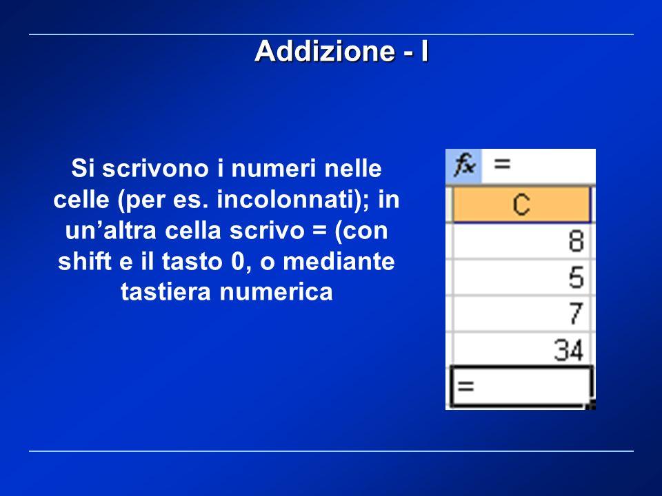 Si scrivono i numeri nelle celle (per es. incolonnati); in unaltra cella scrivo = (con shift e il tasto 0, o mediante tastiera numerica Addizione - I