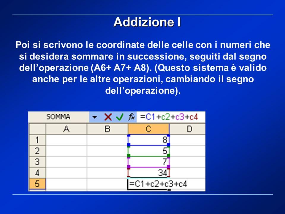 Poi si scrivono le coordinate delle celle con i numeri che si desidera sommare in successione, seguiti dal segno delloperazione (A6+ A7+ A8). (Questo