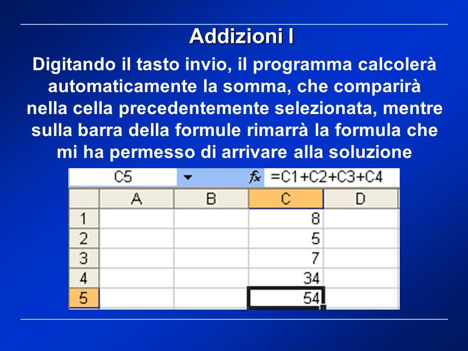 Digitando il tasto invio, il programma calcolerà automaticamente la somma, che comparirà nella cella precedentemente selezionata, mentre sulla barra d