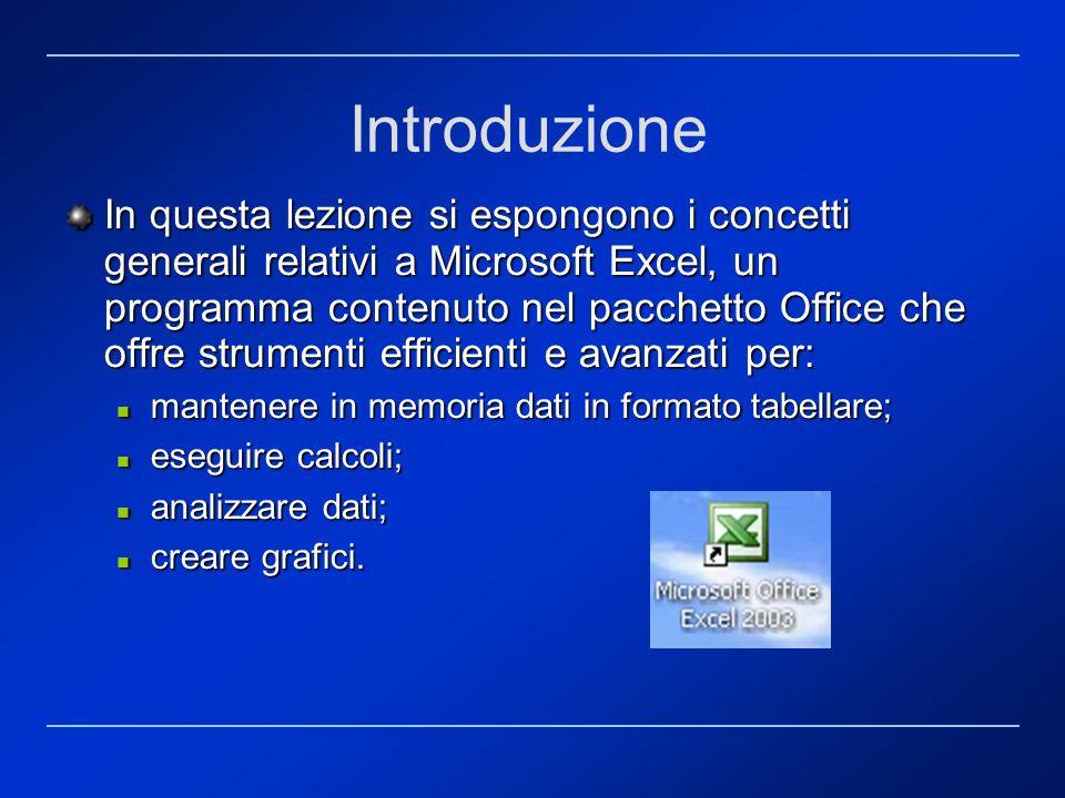 Introduzione In questa lezione si espongono i concetti generali relativi a Microsoft Excel, un programma contenuto nel pacchetto Office che offre stru