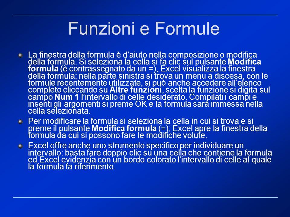 La finestra della formula è daiuto nella composizione o modifica della formula. Si seleziona la cella si fa clic sul pulsante Modifica formula (è cont