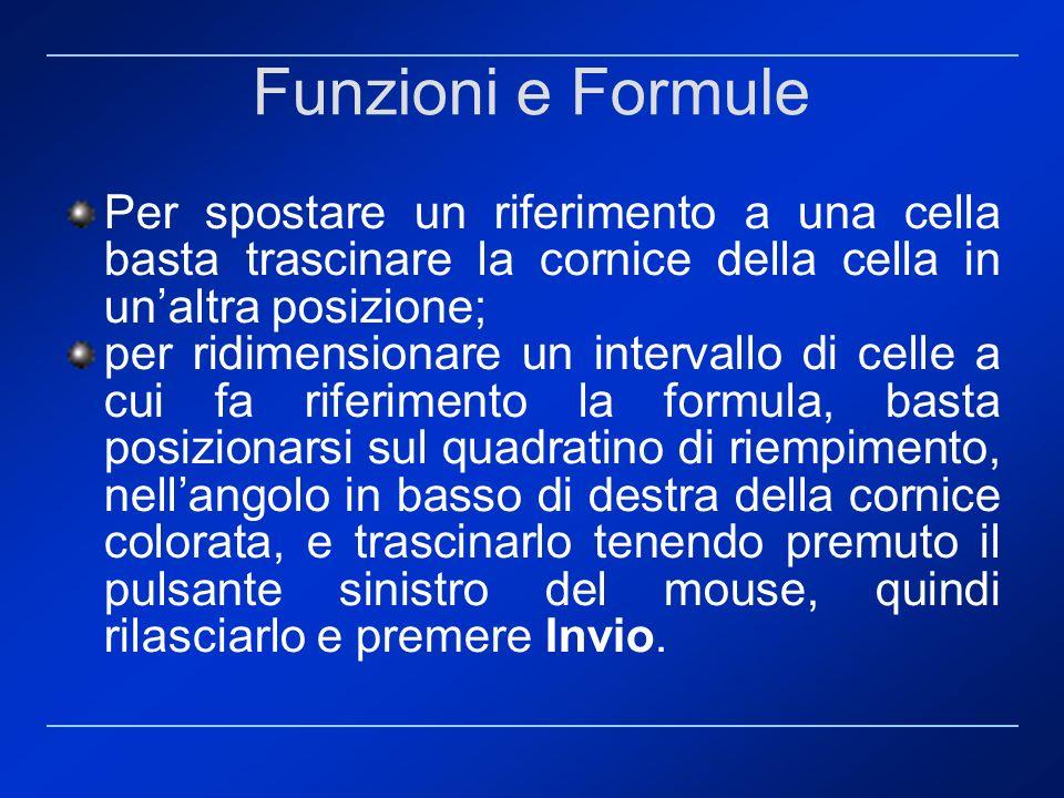 Funzioni e Formule Per spostare un riferimento a una cella basta trascinare la cornice della cella in unaltra posizione; per ridimensionare un interva
