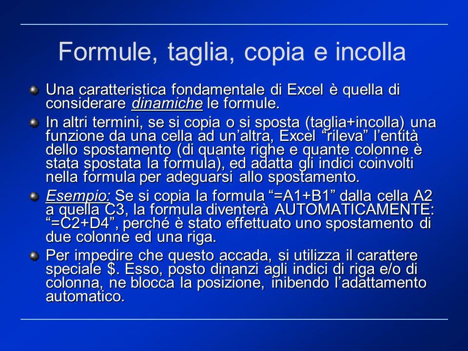 Formule, taglia, copia e incolla Una caratteristica fondamentale di Excel è quella di considerare dinamiche le formule. In altri termini, se si copia