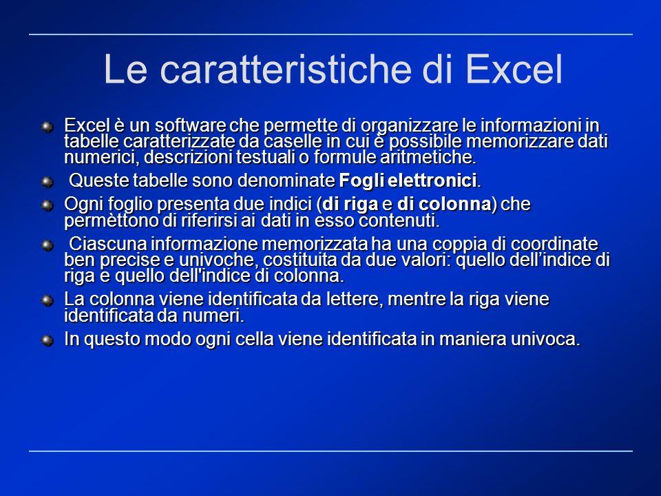 Le caratteristiche di Excel Excel è un software che permette di organizzare le informazioni in tabelle caratterizzate da caselle in cui è possibile me
