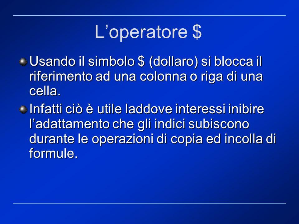 Loperatore $ Usando il simbolo $ (dollaro) si blocca il riferimento ad una colonna o riga di una cella. Infatti ciò è utile laddove interessi inibire