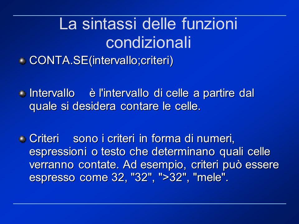 La sintassi delle funzioni condizionali CONTA.SE(intervallo;criteri) Intervallo è l'intervallo di celle a partire dal quale si desidera contare le cel