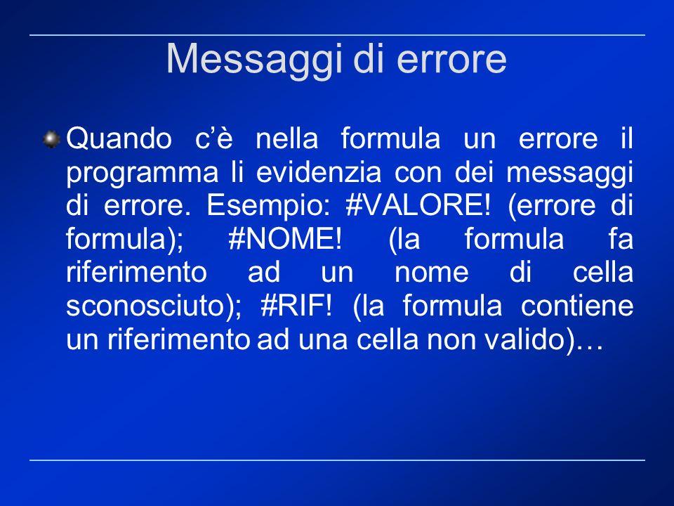 Messaggi di errore Quando cè nella formula un errore il programma li evidenzia con dei messaggi di errore. Esempio: #VALORE! (errore di formula); #NOM