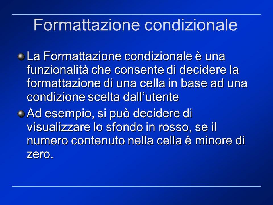 Formattazione condizionale La Formattazione condizionale è una funzionalità che consente di decidere la formattazione di una cella in base ad una cond