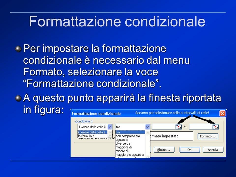 Formattazione condizionale Per impostare la formattazione condizionale è necessario dal menu Formato, selezionare la voce Formattazione condizionale.