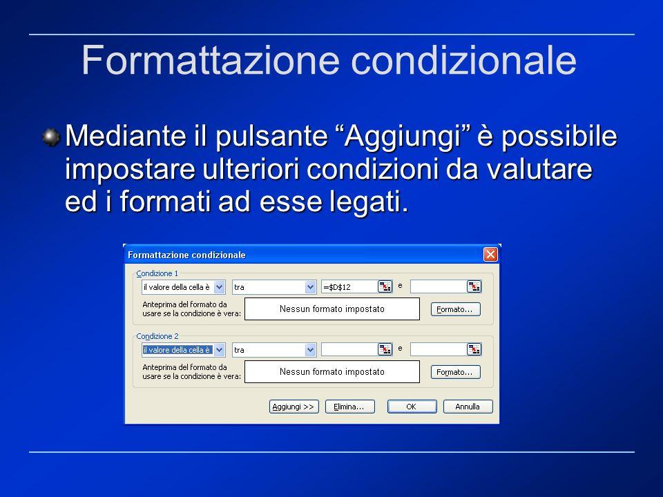 Formattazione condizionale Mediante il pulsante Aggiungi è possibile impostare ulteriori condizioni da valutare ed i formati ad esse legati.