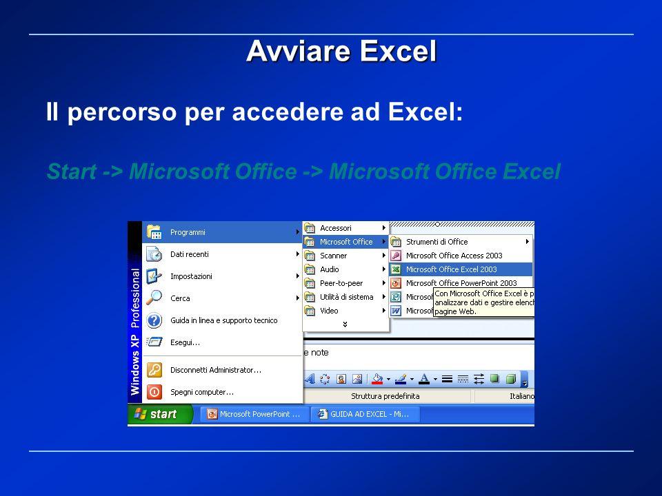 Il percorso per accedere ad Excel: Start -> Microsoft Office -> Microsoft Office Excel Avviare Excel
