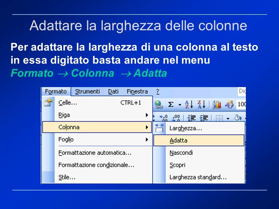Per adattare la larghezza di una colonna al testo in essa digitato basta andare nel menu Formato Colonna Adatta Adattare la larghezza delle colonne