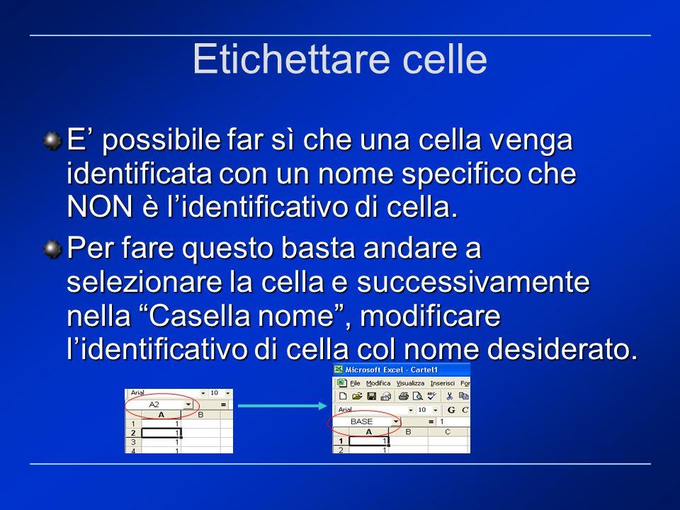 Etichettare celle E possibile far sì che una cella venga identificata con un nome specifico che NON è lidentificativo di cella. Per fare questo basta