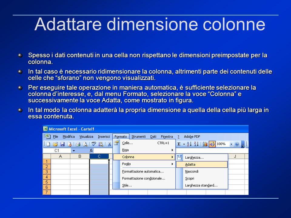 Adattare dimensione colonne Spesso i dati contenuti in una cella non rispettano le dimensioni preimpostate per la colonna. In tal caso è necessario ri