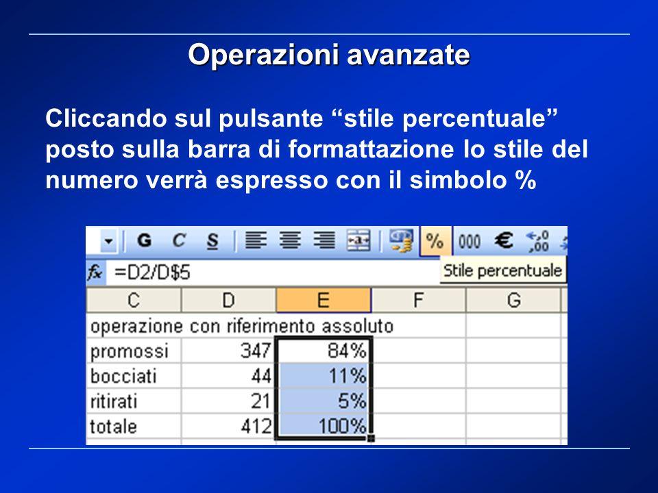 Operazioni avanzate Cliccando sul pulsante stile percentuale posto sulla barra di formattazione lo stile del numero verrà espresso con il simbolo %