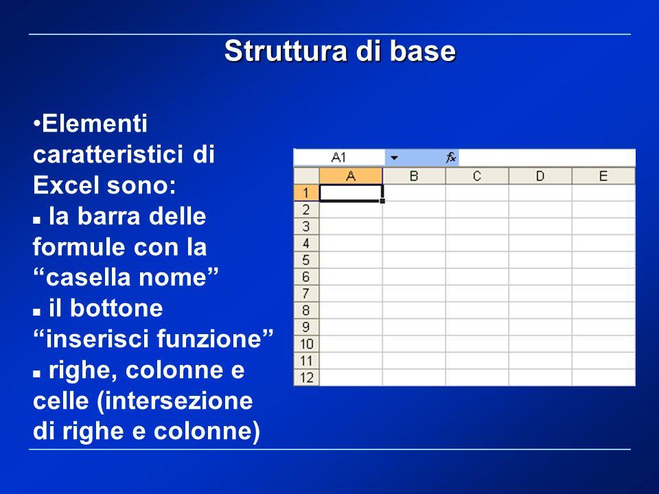 Elementi caratteristici di Excel sono: la barra delle formule con la casella nome il bottone inserisci funzione righe, colonne e celle (intersezione d