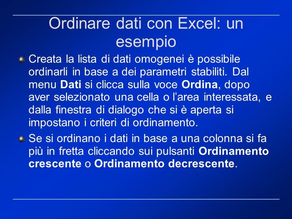 Ordinare dati con Excel: un esempio Creata la lista di dati omogenei è possibile ordinarli in base a dei parametri stabiliti. Dal menu Dati si clicca