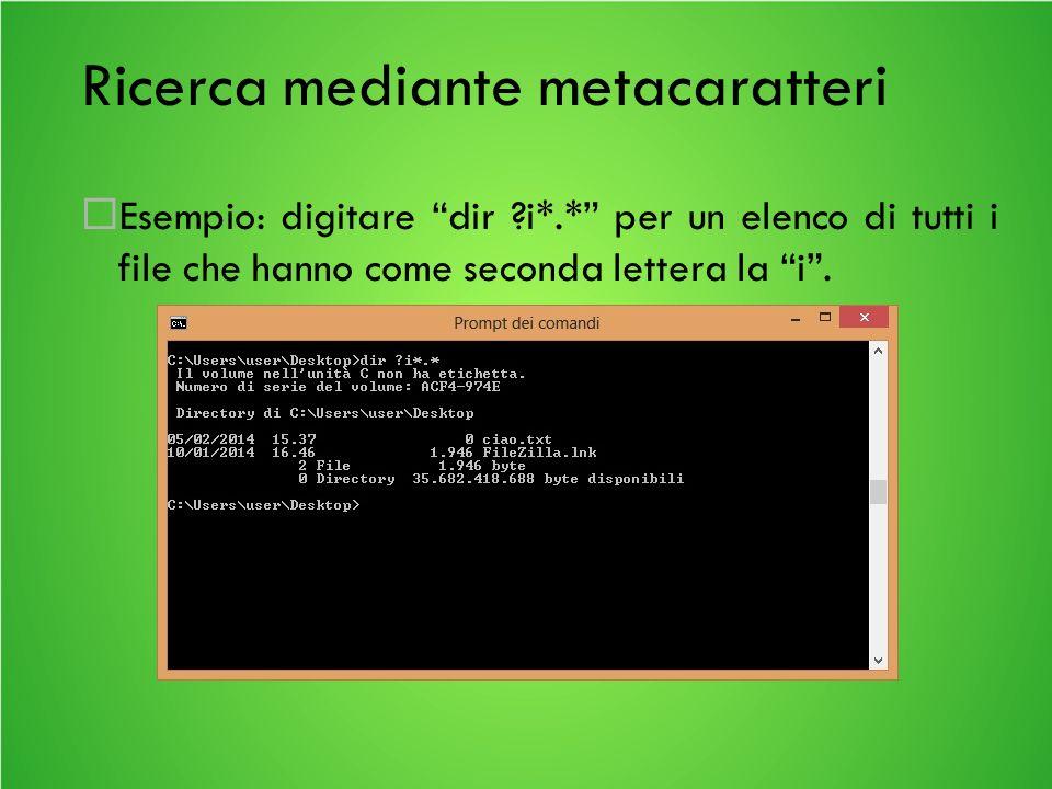 Ricerca mediante metacaratteri Esempio: digitare dir ?i*.* per un elenco di tutti i file che hanno come seconda lettera la i.