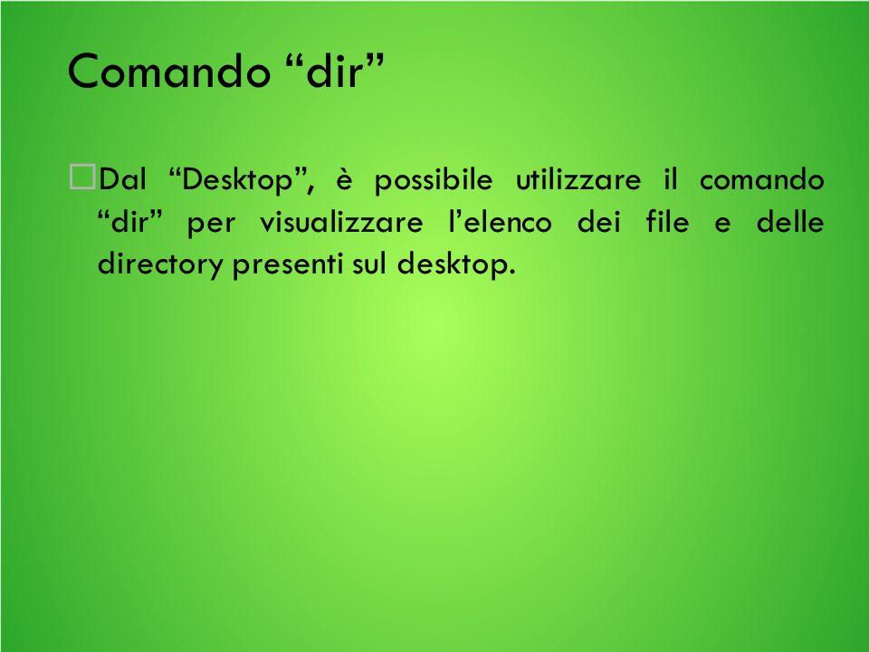 Comando dir Dal Desktop, è possibile utilizzare il comando dir per visualizzare lelenco dei file e delle directory presenti sul desktop.