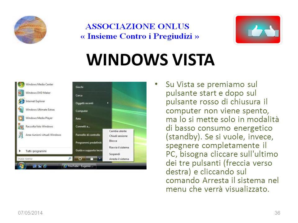 WINDOWS XP Se siamo sicuri che i programmi che stavamo utilizzando non sono ancora in esecuzione possiamo spegnere il computer seguendo il procediment