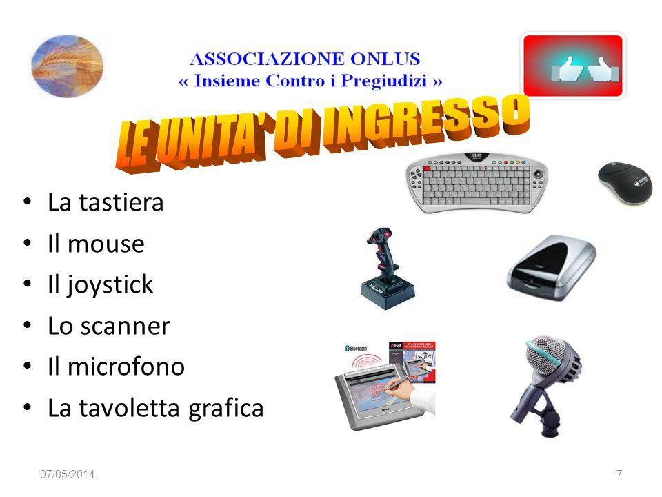 07/05/20147 La tastiera Il mouse Il joystick Lo scanner Il microfono La tavoletta grafica