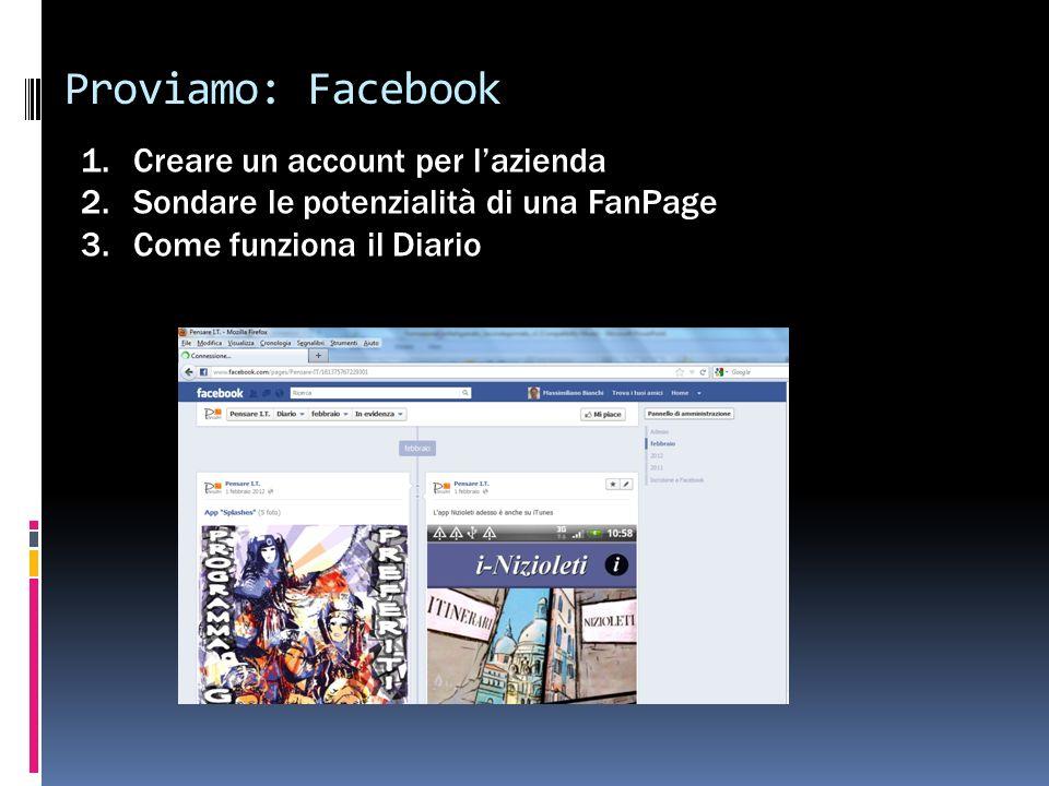Proviamo: Facebook 1.Creare un account per lazienda 2.Sondare le potenzialità di una FanPage 3.Come funziona il Diario