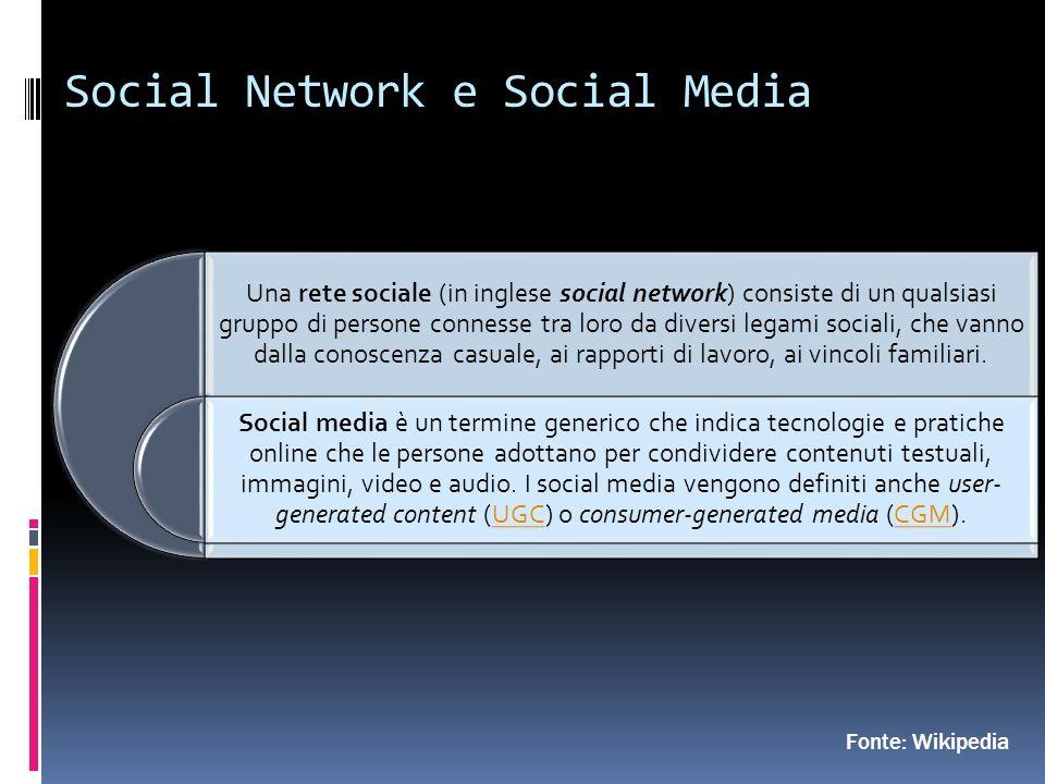 Social Network e Social Media Fonte: Wikipedia Una rete sociale (in inglese social network) consiste di un qualsiasi gruppo di persone connesse tra loro da diversi legami sociali, che vanno dalla conoscenza casuale, ai rapporti di lavoro, ai vincoli familiari.