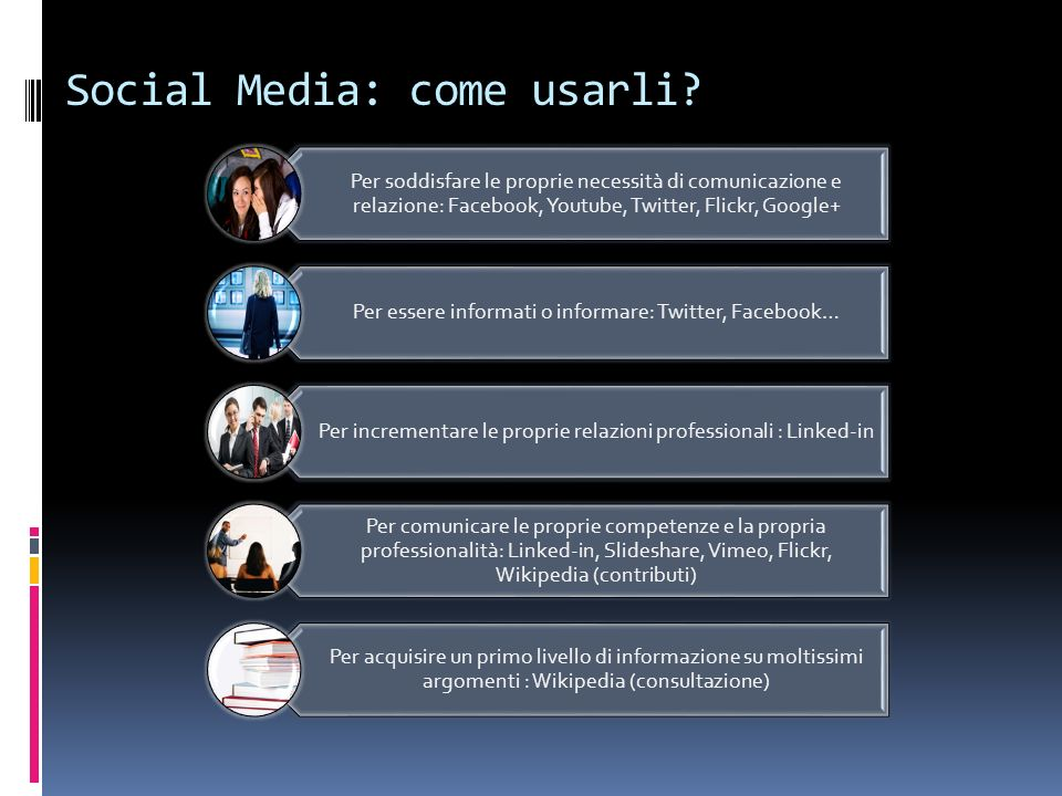Nel business (1) IBM è su Facebook; ha moltissimi blog; un bel numero di account Twitter ufficiali; pubblica video su Youtube e presentazioni su SlideShare FIAT la trovate su Facebook, Twitter, Youtube Chi le usa .