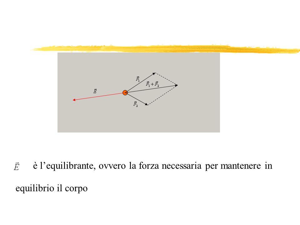 Se sul punto materiale è applicata una sola forza esso non può essere in equilibrio Affinché il corpo sia in equilibrio devono essere applicate più forze con risultante nulla Quando un punto materiale non è in equilibrio, per equilibrarlo basta applicare una forza opposta alla risultante delle forze applicate LEQUILIBRANTE