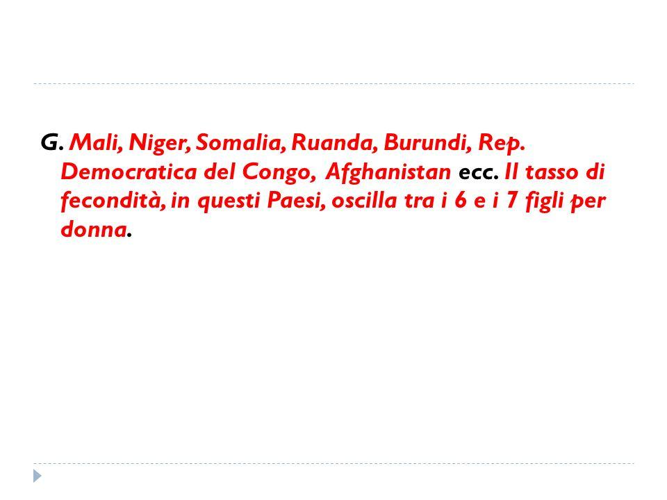 G. Mali, Niger, Somalia, Ruanda, Burundi, Rep. Democratica del Congo, Afghanistan ecc. Il tasso di fecondità, in questi Paesi, oscilla tra i 6 e i 7 f