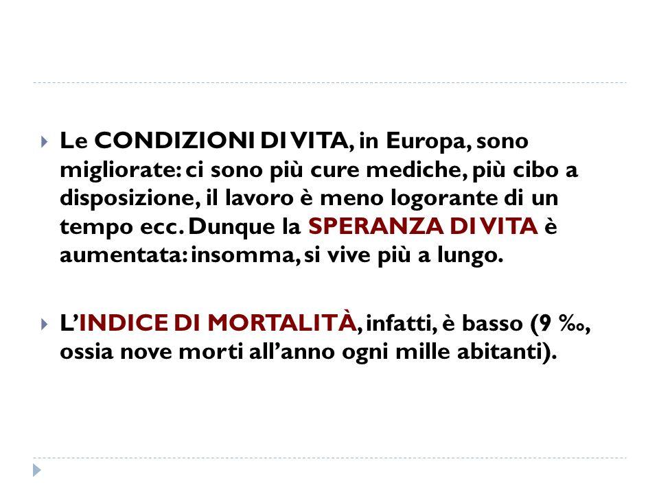 Le CONDIZIONI DI VITA, in Europa, sono migliorate: ci sono più cure mediche, più cibo a disposizione, il lavoro è meno logorante di un tempo ecc. Dunq