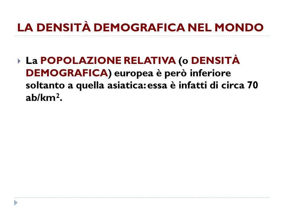 LA DENSITÀ DEMOGRAFICA NEL MONDO La POPOLAZIONE RELATIVA (o DENSITÀ DEMOGRAFICA) europea è però inferiore soltanto a quella asiatica: essa è infatti di circa 70 ab/km 2.