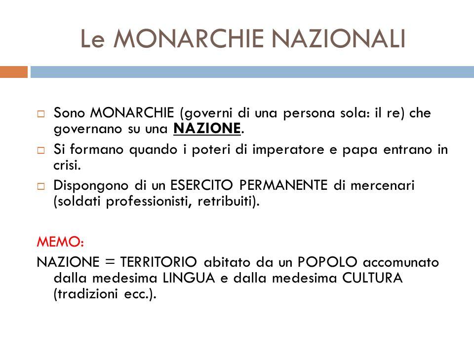Le MONARCHIE NAZIONALI Sono MONARCHIE (governi di una persona sola: il re) che governano su una NAZIONE. Si formano quando i poteri di imperatore e pa