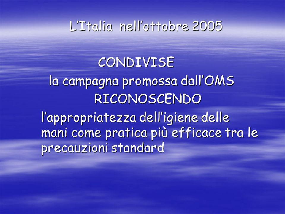 LItalia nellottobre 2005 CONDIVISE CONDIVISE la campagna promossa dallOMS la campagna promossa dallOMS RICONOSCENDO RICONOSCENDO lappropriatezza delli
