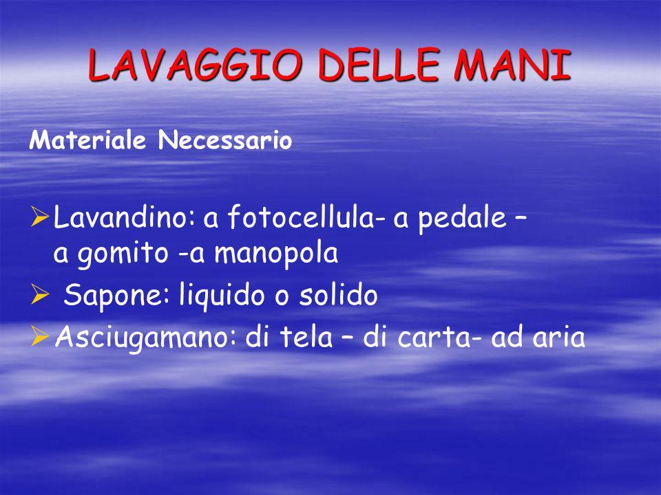 LAVAGGIO DELLE MANI Materiale Necessario Lavandino: a fotocellula- a pedale – a gomito -a manopola Sapone: liquido o solido Asciugamano: di tela – di