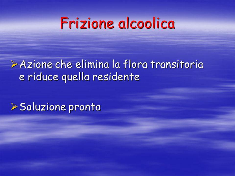 Frizione alcoolica Azione che elimina la flora transitoria e riduce quella residente Azione che elimina la flora transitoria e riduce quella residente Soluzione pronta Soluzione pronta