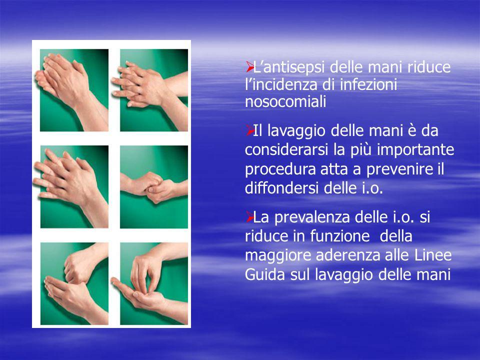 Lantisepsi delle mani riduce lincidenza di infezioni nosocomiali Il lavaggio delle mani è da considerarsi la più importante procedura atta a prevenire il diffondersi delle i.o.