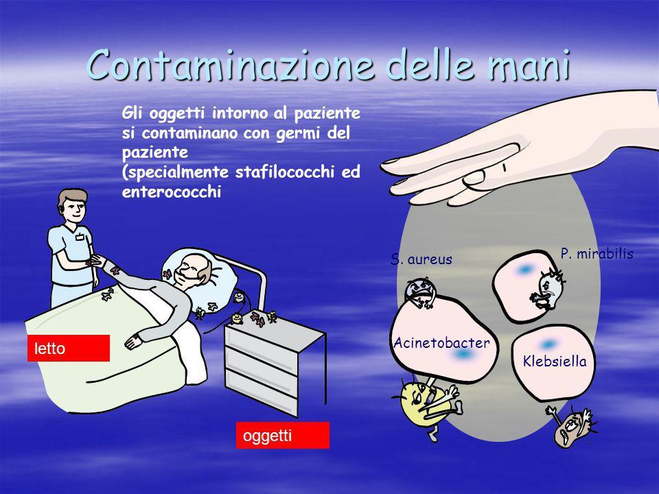 Contaminazione delle mani Gli oggetti intorno al paziente si contaminano con germi del paziente (specialmente stafilococchi ed enterococchi Letto S. a